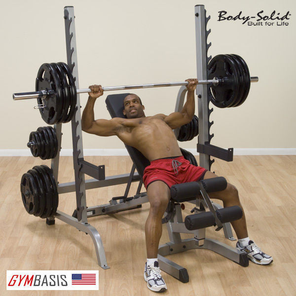 Body-Solid GPR370 Press Rack KIT with GFID31 Bench & 400lb. Weight Set - GymBasis Store