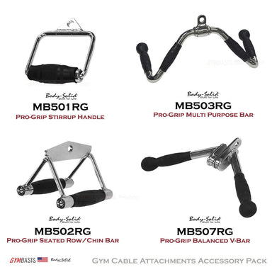 Body-Solid Pro-Grip Cable Attachments Package MB501RG, MB502RG, MB503RG, MB507RG - GymBasis Store