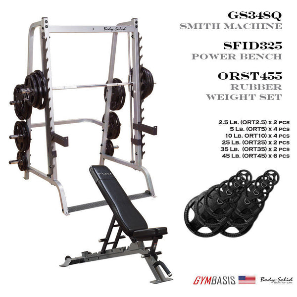 Body-Solid GS348Q Smith Machine w/ SFID325 Bench & 455 lb Rubber Olympic Set - GymBasis Store