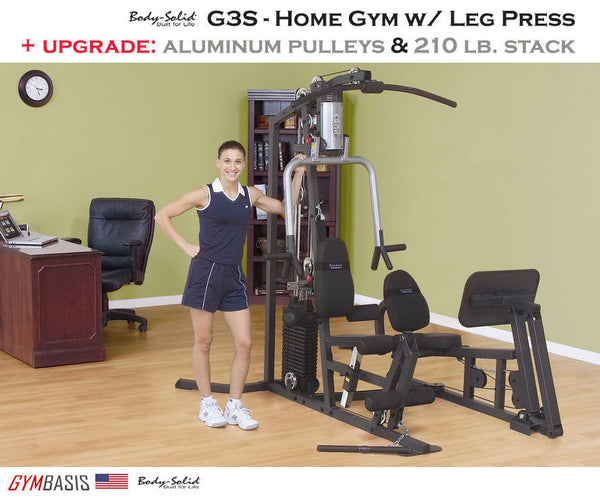 Body-Solid G3S Home Gym w/ Calf Leg Press  | 210lb. stack & aluminum pulleys - GymBasis Store