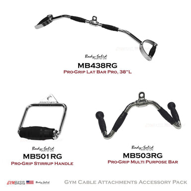 Body-Solid Pro-Grip Cable Bar Attachments Package MB438RG, MB501RG, MB503RG - GymBasis Store