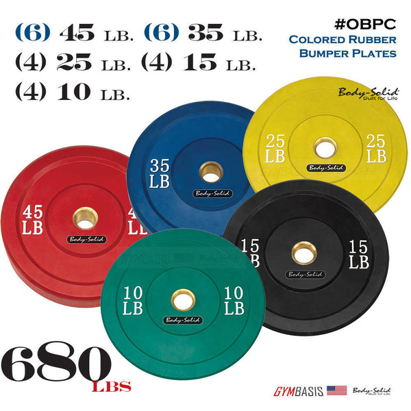 Body-Solid 680 lbs. OBPC Colored Rubber Bumper Plate Set 10, 15, 25, 35, 45 lb. - GymBasis Store