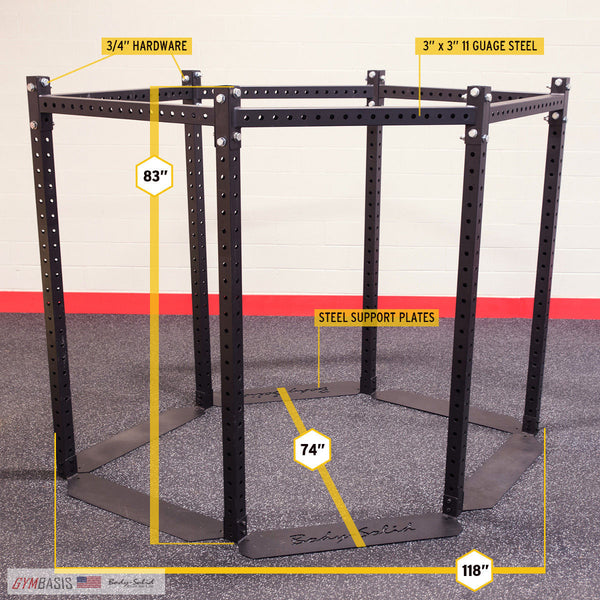 "Body Solid HEXAGON (BASE FRAME) 83"" SHORT Training Rig System - SR-HEX - GymBasis Store"