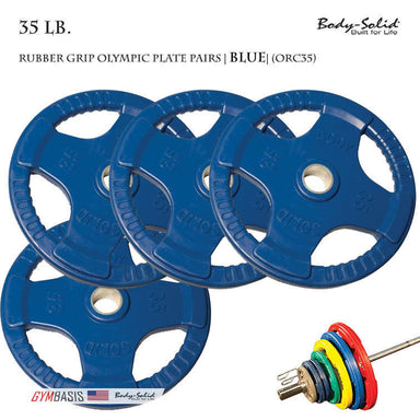 Body-Solid [ORC35] Colored Rubber Grip Olympic Plate Pairs 35 lb. - GymBasis Store