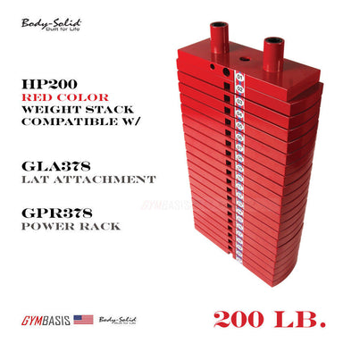 HP200 Body-Solid 200lb Premium RED Weight Stack Option for GLA378 Lat Attachment - GymBasis Store