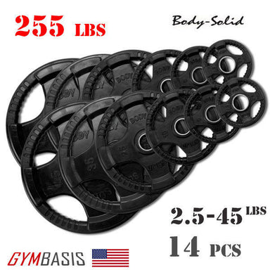 Body-Solid Set 255lbs. of Rubber Grip Olympic Weight Plates 2.5-45lb. - GymBasis Store