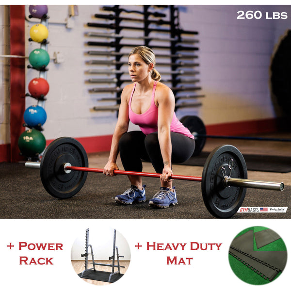 Body-Solid CrossFit Package 260 lb Bumper Plates, Rack, Bar, Heavy Duty Mat - GymBasis Store