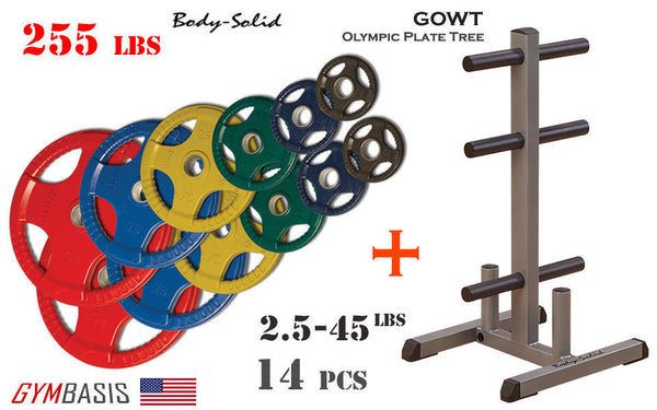 Body-Solid GOWT Plate Tree + ORCT255 Colored Rubber Grip Olympic Plates 255lbs. - GymBasis Store
