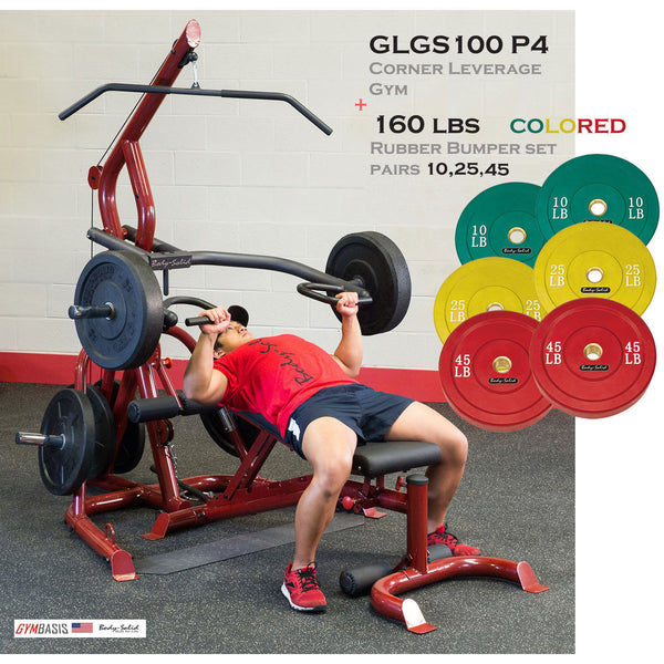 Body-Solid GLGS100P4 Corner Leverage Gym Pack & 160 lb Colored Bumper Plates - GymBasis Store