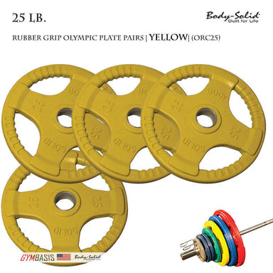 Body-Solid [ORC25] Colored Rubber Grip Olympic Plate Pairs 25 lb. - GymBasis Store
