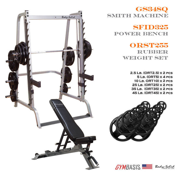 Body-Solid GS348Q Smith Machine w/ SFID325 Bench & 255 lb Rubber Olympic Set - GymBasis Store