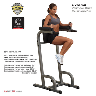 Body-Solid GVKR60 VKR Vertical Knee Raise and Dip Power Tower - GymBasis Store