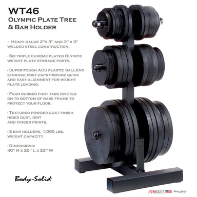Body-Solid WT46 OLYMPIC PLATE TREE & BAR HOLDER Weight Rack in Black Style - GymBasis Store