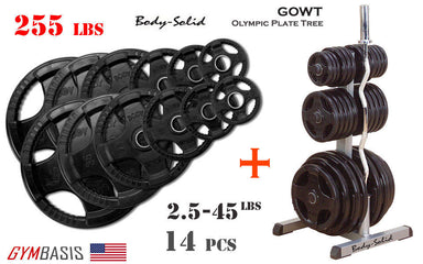 Body-Solid GOWT Plate Tree + ORST255 Black Rubber Grip Olympic Plates 255lbs. - GymBasis Store