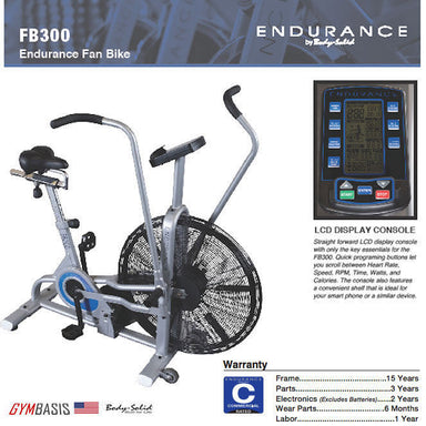 Body-Solid Endurance FB300 Fan Bike Air Cycle Commercial Indoor Cycling - GymBasis Store