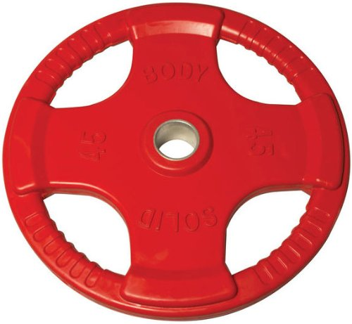 Body-Solid Colored Rubber Grip Olympic Plates (Red) - 45 lb pair - GymBasis Store