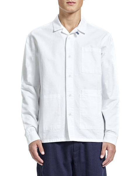 Nick Overshirt - White Grosgrain - Shirts - By Ddugoff