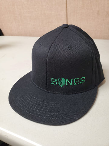 Black Bones Flexfit Hat - Flat bill with green logo