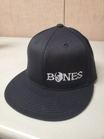 Black Bones Flexfit Hat - Flat bill with white logo