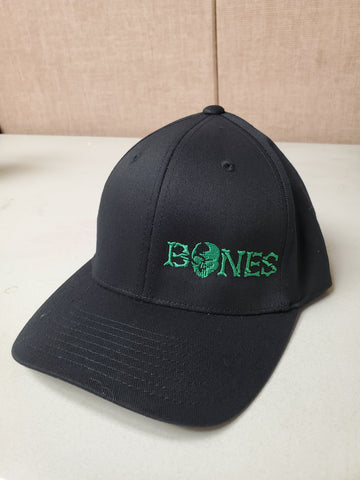 Black Bones Flexfit Hat - Standard bill with green logo