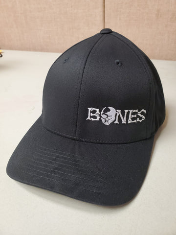 Black Bones Flexfit Hat - Standard bill with white logo