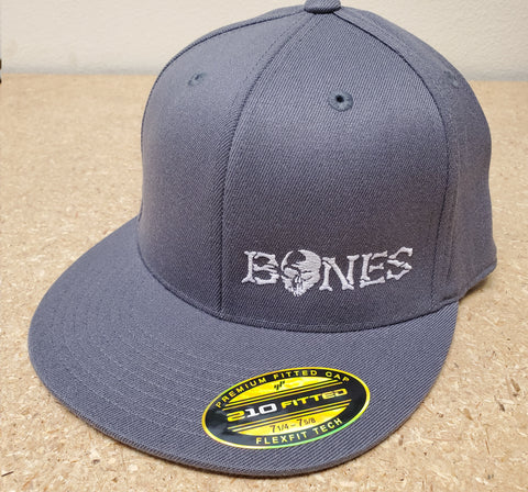 Grey Bones Flexfit Hat - Flat bill with white logo