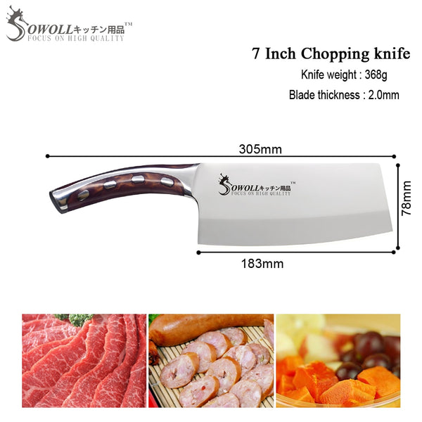 SOWOLL 4cr14mov Stainless Steel 7 inch Chopping Kitchen Knife