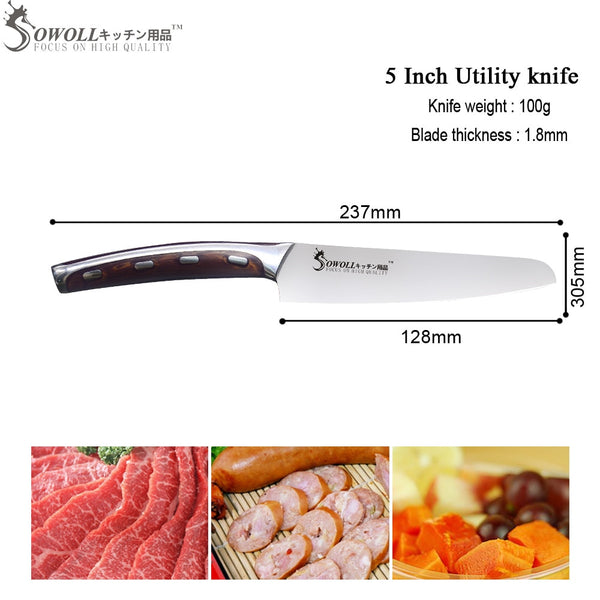 SOWOLL 4cr14mov Stainless Steel 5 inch Utility Kitchen Knife