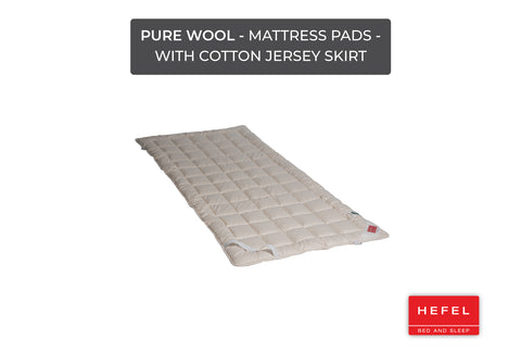 Pure Wool - Mattress Pads - with cotton jersey skirt