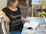 """Happiness Is Coffee Books & Rain + Free WiFi"" Ladies' Short Sleeve Tee Shirt - iiwiiyolo Clothing"