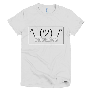 Emoji Shrug It Is What It Is - Ladies short sleeve white t-shirt - iiwiiyolo Clothing