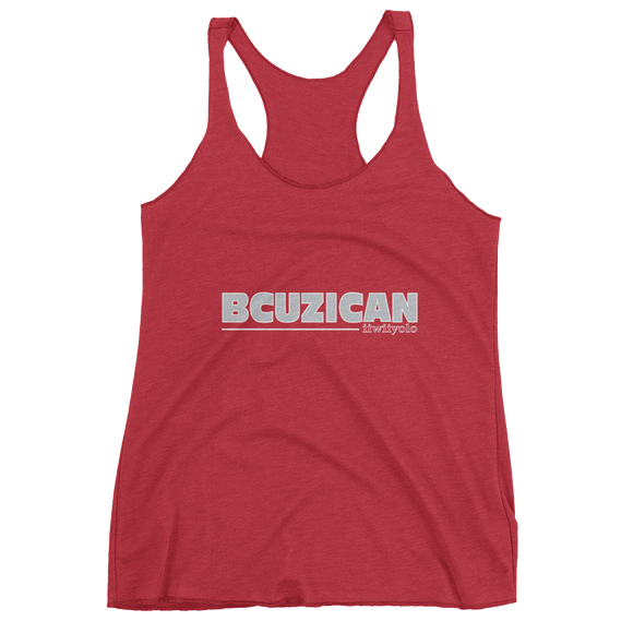 BCUZICAN Women's tank top - silver with white outline - iiwiiyolo Clothing