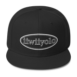 Wool Blend Snapback - - White iiWiiyolo Oval Label - iiwiiyolo Clothing