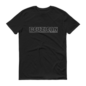 BCUZICAN Black short sleeve unisex t-shirt - black with white outline - iiwiiyolo Clothing