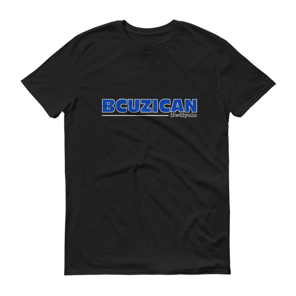 BCUZICAN Short sleeve t-shirt - blue with white outline - iiwiiyolo Clothing