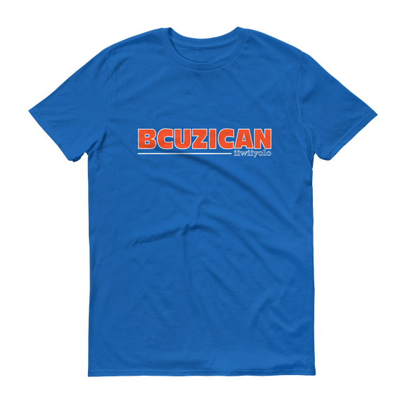 BCUZICAN Short sleeve t-shirt - orange with white outline - iiwiiyolo Clothing