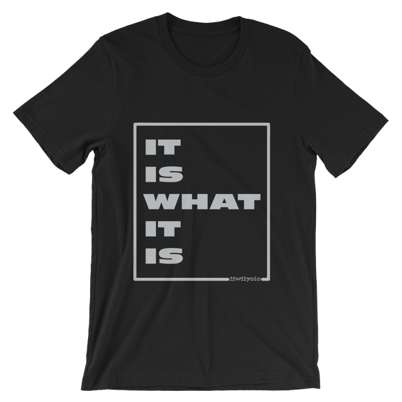 IT IS WHAT IT IS in silver - Black unisex short sleeve t-shirt - iiwiiyolo Clothing