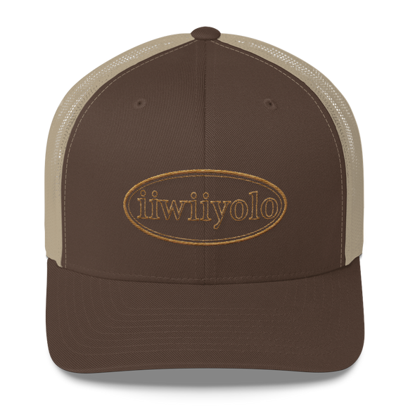 Trucker Cap - Gold iiWiiyolo Oval Label - iiwiiyolo Clothing