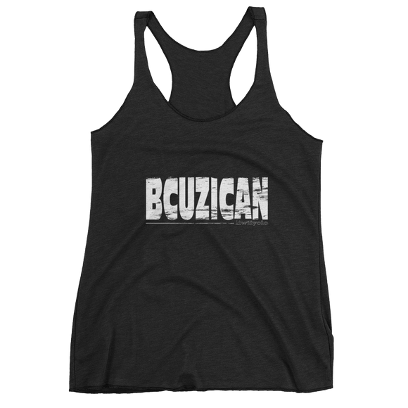 White Grunge BCUZICAN Ladies black racerback tank top - iiwiiyolo Clothing