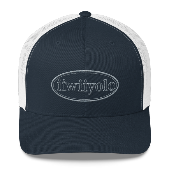 Trucker Cap - Grey iiWiiyolo Oval Label - iiwiiyolo Clothing