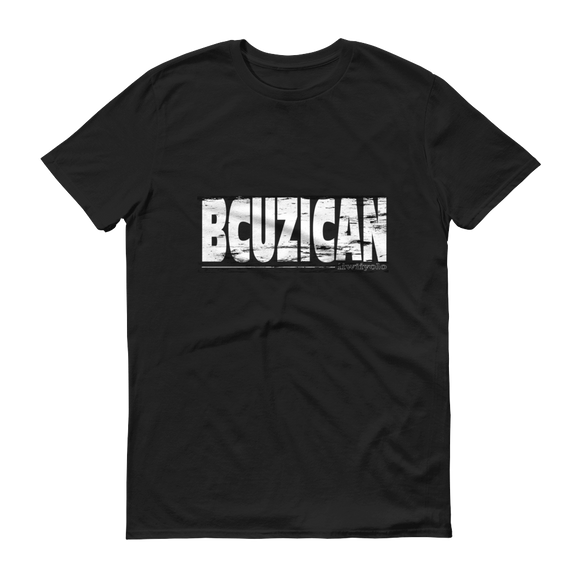White Grunge BCUZICAN Unisex black short sleeve t-shirt - iiwiiyolo Clothing
