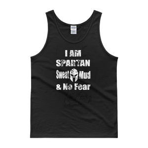 """I AM SPARTAN Sweat Mud & No Fear"" Men's Black Tank top - iiwiiyolo Clothing"