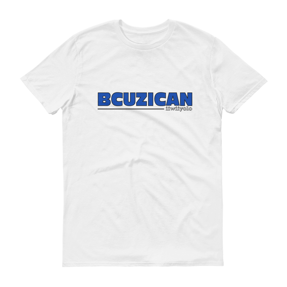 BCUZICAN Short sleeve t-shirt - blue with black outline - iiwiiyolo Clothing
