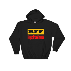 BFF Burger Friends & Fries - Black Hooded Sweatshirt - iiwiiyolo Clothing
