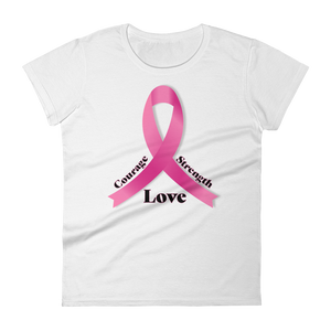 Breast Cancer Awareness Ribbon - Courage Strength Love Ladies Short Sleeve Tee - iiwiiyolo Clothing