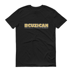 BCUZICAN Short sleeve t-shirt - vegas gold with white outline - iiwiiyolo Clothing