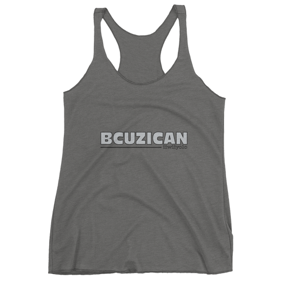 BCUZICAN Women's tank top - silver with black outline - iiwiiyolo Clothing