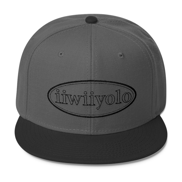 Wool Blend Snapback - Black iiWiiyolo Oval Label - iiwiiyolo Clothing