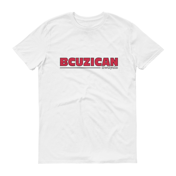 BCUZICAN Short sleeve t-shirt - red with black outline - iiwiiyolo Clothing