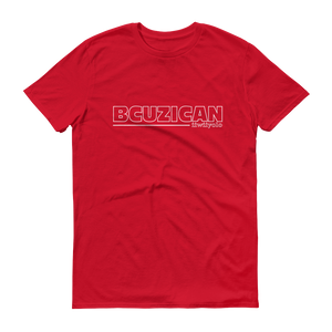 BCUZICAN Short sleeve t-shirt - red with white outline - iiwiiyolo Clothing